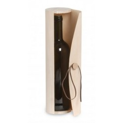 Cylindrical wood veneer case with leather string for half-bottle