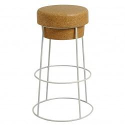 Bar stool in cork and metal