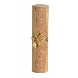 Cylindrical wood veneer case with leather ribbon and cork decor