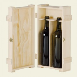 wood case for 2 bottles of Bordeaux