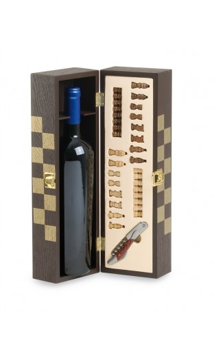 "Brun wine case ""Chess "" with one accessory - 1  bottle"
